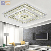 LED Modern Stainless Steel Crystal Chrome Square Dimmable RGB Chandelier Lighting Lamparas De Techo For Foyer