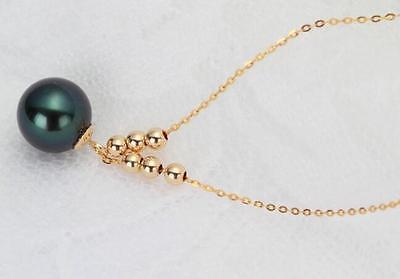 189-10MM NATURAL TAHITIAN BLACK PEARL NECKLACE PENDANT [ys] 9 10mm black loose natural tahitian pearls