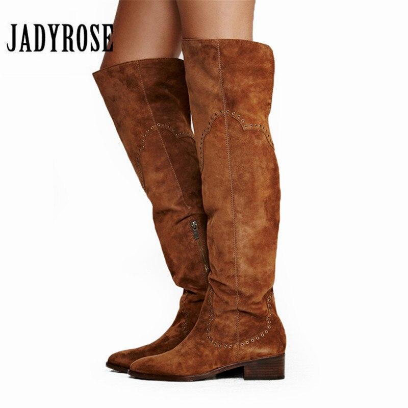 Jady Роза 2019 новый дизайн Замшевые женские облегающие высокие сапоги с заклепками Шипованные Сапоги выше колена женские боковая молния плоск...