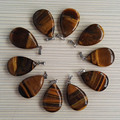 Wholesale Tiger Eye stone pendant jewelry natural stone water drop Point Tiger Eye Pendants charms 12Pcs/lot Free shipping