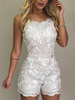 2019 Summer Women Elegant Vacation V Neck Casual Playsuit Crochet Sweet Girl Spaghetti Strap Lace Embroidery Rompers