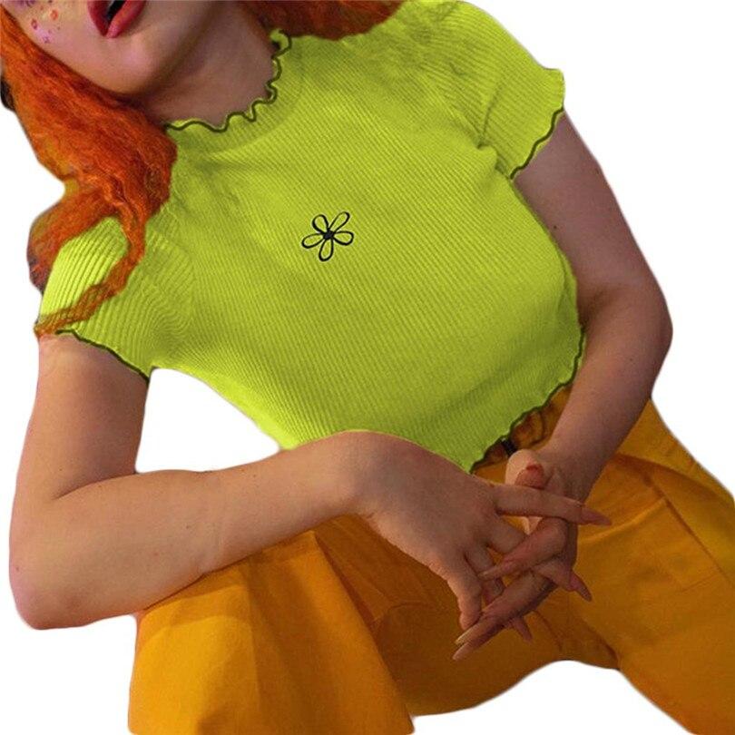 Flower Print Crop Top T-Shirt Short Sleeve T Shirt Women O Neck Summer Tshirt Korean Style Knit Chemise Femme 40AP24