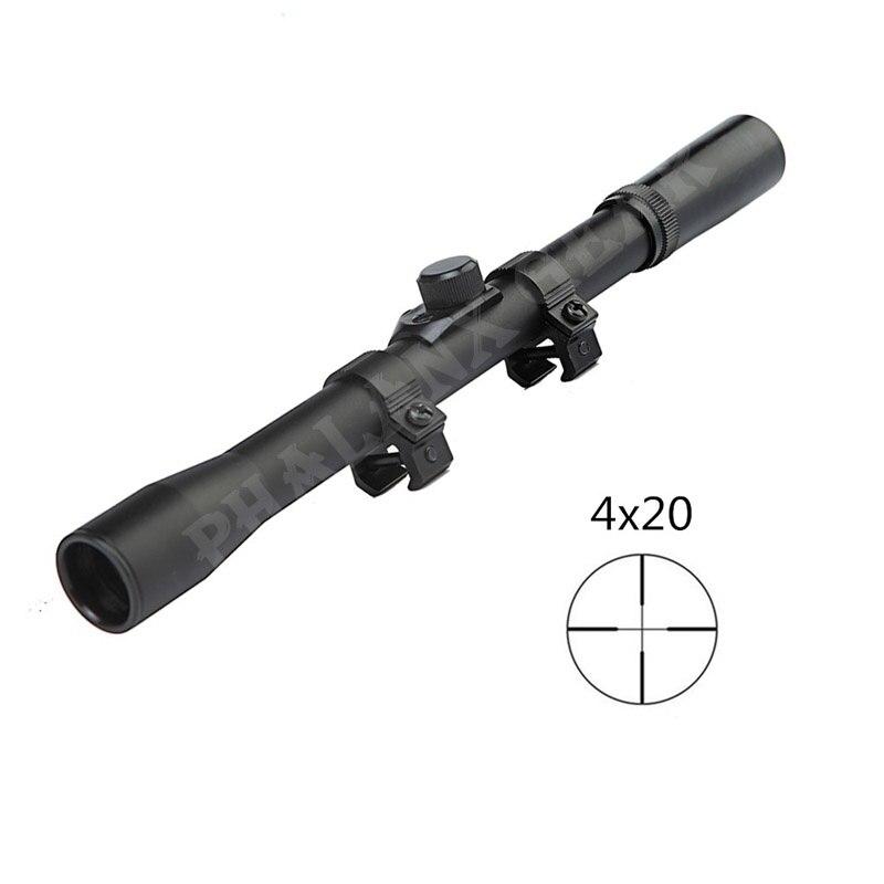 2018 Caça militar do exército Óptica Sights Scope 4x20 Telescópio Monocular com Dispositivo de Caça Escopos Montar 22 Calibre Acessório Kit