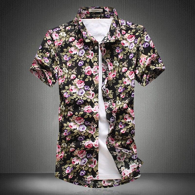 Mens Floral Sshirt 2017 Summer Fashion Men Short sleeve Shirts ...