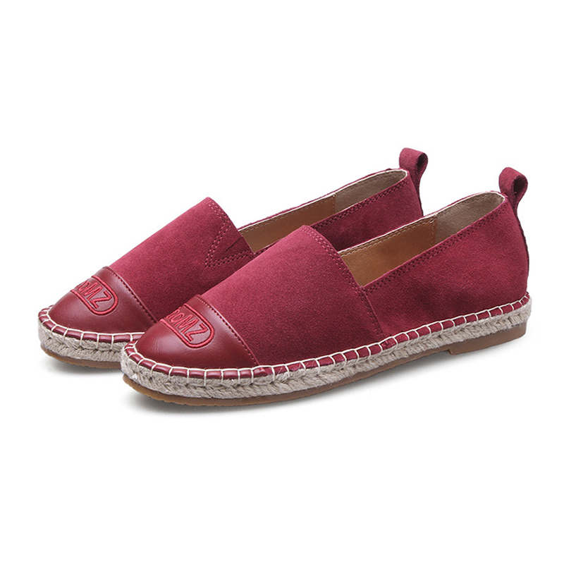 2017 Women s Espadrilles Flats Shoes Cow Suede Leather Boat Shoes For Women Light Breathable Fashion