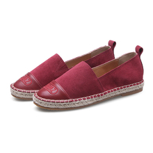 2017 Women's Espadrilles Flats Shoes Cow Suede Leather Boat Shoes For Women Light Breathable Fashion Student Fisherman Shoes 41