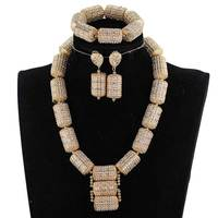Dubai Gold Jewelry Sets for Women 2018 Bridal Gift Nigerian Wedding African Beads Jewelry Set Chunky Pendant Necklace WE200