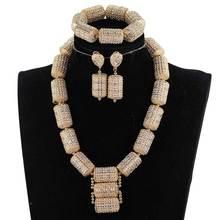 Dubaj złote zestawy biżuterii dla kobiet 2018 prezent dla nowożeńców ślub nigeryjski koraliki afryki zestaw biżuterii Chunky naszyjnik WE200
