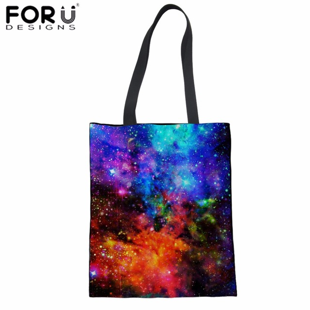 fc6aa9b50 FORUDESIGNS Canvas Shopping Bag Galaxy Space Print Cloth Bag for Women  Teenager Girls Daily Cotton Tote Bag Fashion Eco Sacola