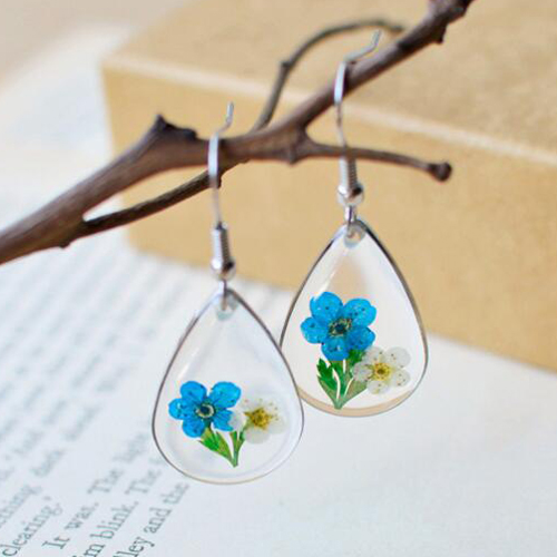 1Pair Real Plant Dry Flower Waterdrop Pressed Flower Dangle Earrings Fashion Woman Ear Jewelry Accessaries