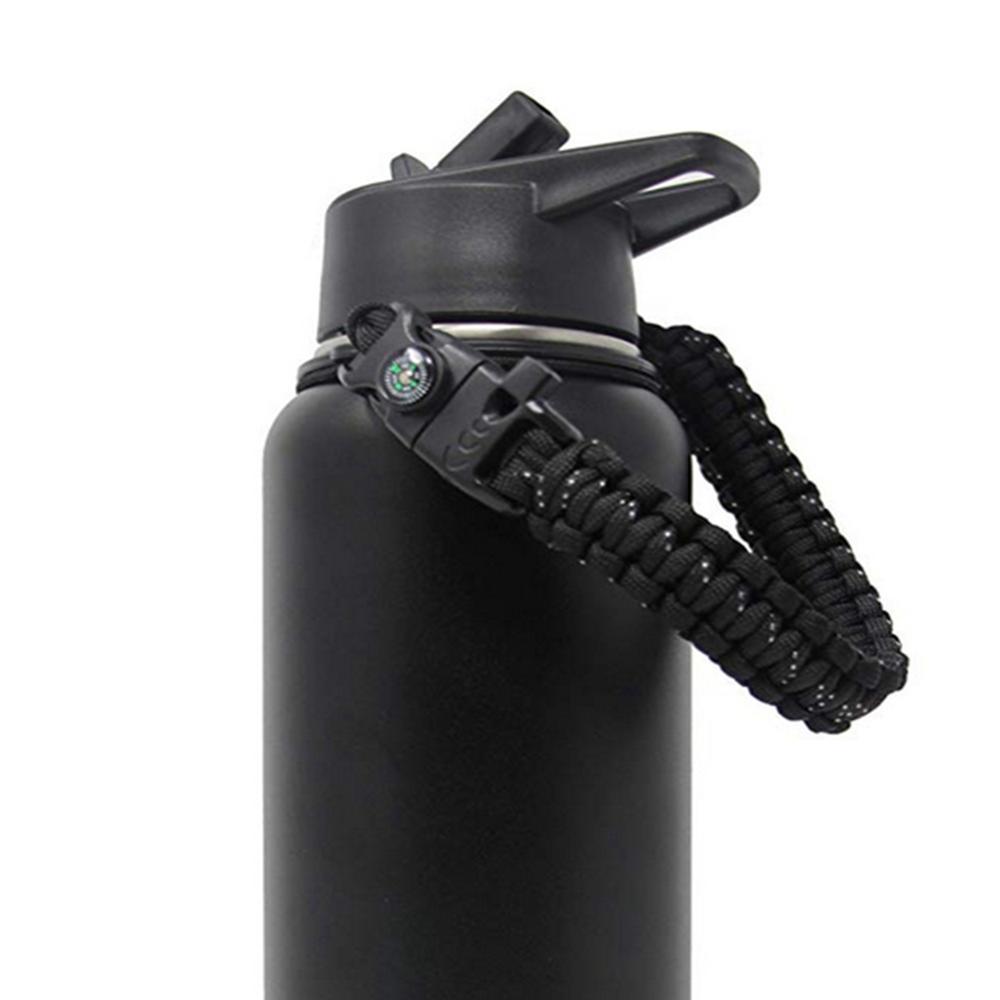 Paracord المياه مقبض الزجاجة حزام الحبل للانفصال غلاية مقبض حامل الناقل مع البوصلة صافرة السلامة حلقة ل في الهواء الطلق