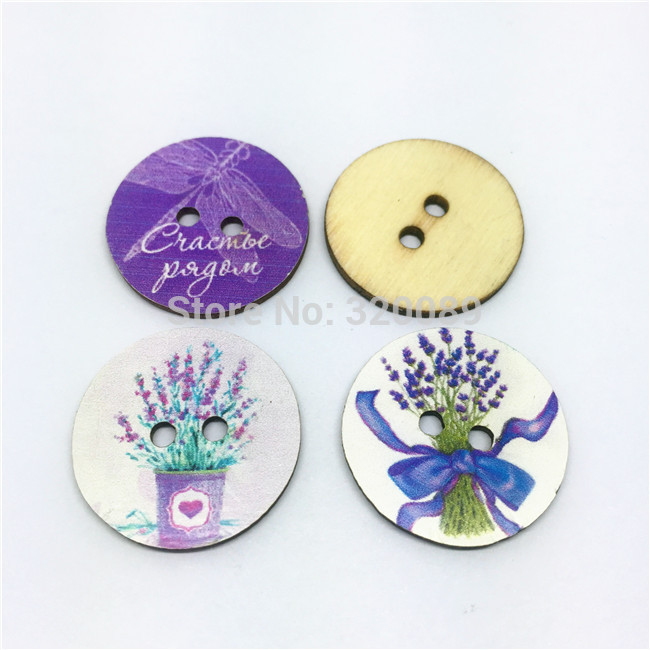 1000pcs 25mm 1 Large Wood Buttons Lavender Pattern Lilac WEDDING Sewing Button Embellishments Cardmaking Scrapbooking