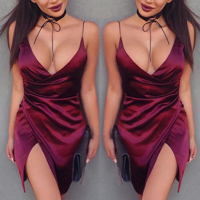 Sexy Burgundy Satin Party Club Dress 2018 Deep V Neck Women Summer Dresses Sexy Bodycon Strap Ruched Ladies Mini Slip Dress