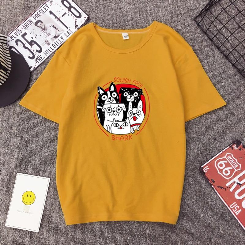 Personality Cute Puppy Print T-shirt 2019 Summer Harajuku Short-sleeved Casual Women Shirt Loose Fashion Tops