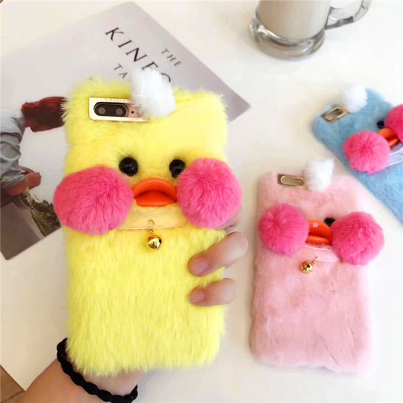 Hot 3D Cute Plush Little Yellow Duck Metal Bell Winter Warm Hand Soft Cover Case For Iphone 6 7 8 Plus X XR XS MAX Phone Cases
