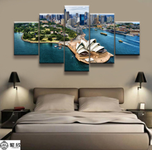Hot Sales Without Frame 5 Panels Picture Sydney Opera House Scenery Posters Painting Artwork Wall Art Canvas Wholesale