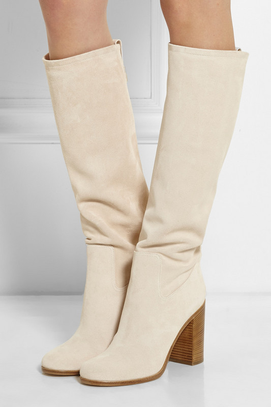 fall boots for woman chunky high heels long boots beige white suede knee high gladiator boots plus size 42 free shipping