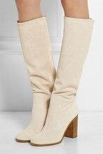 Падение сапоги для женщины коренастый высокие каблуки длинные сапоги бежевый белый замша колено высокие гладиатор сапоги плюс размер 42 бесплатная доставка доставка
