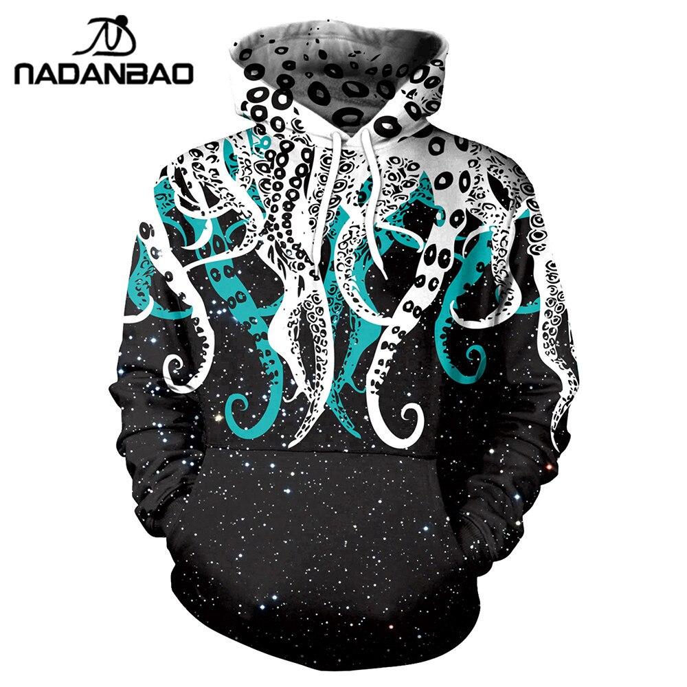 NADANBAO Nouvelle Octopus Espace Sweat Shirts Galaxy 3D Imprimé Motif Automne À Capuche Femmes À Capuche