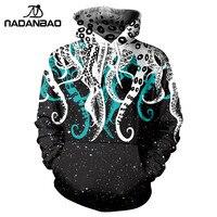 NADANBAO New Style Hiphop Hoodies Sweatshirts Galaxy Space 3D Printing Kawaii Octopus Pattern Autumn Hooded Women