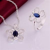 S0766 Wholesale Free Shipping Hot 925 Silver Jewelry Sets Fashion Jewelry Sets Necklace Ring Jewelry Sets