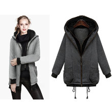 Thickening Hoodie Pullover Zipper Long Sleeve Casual Solid Women'S Clothes Coat Jacket Moletom Feminino H75 AA