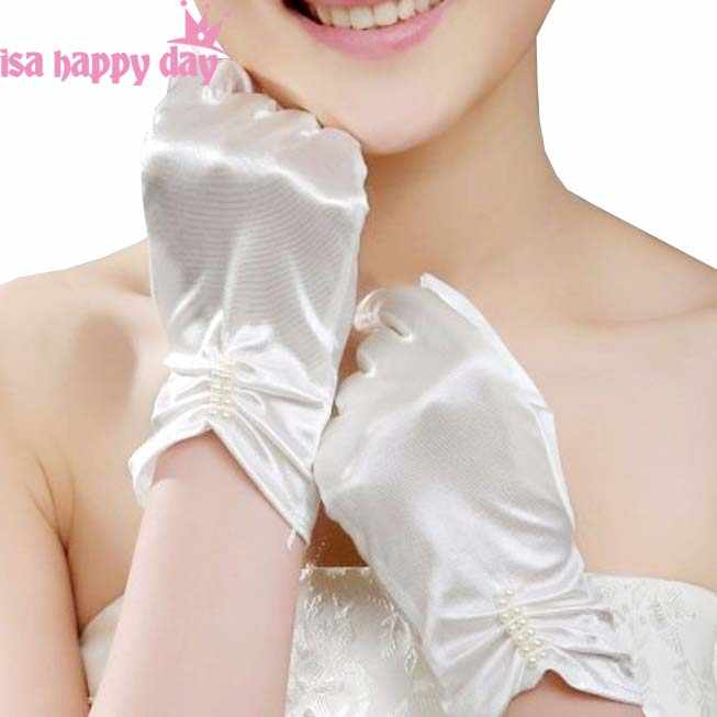 White/Ivory Matte Satin Finger Short Wedding Gloves Wedding Accessories Party Prom Cosplay Performance Casual Bridal Gloves