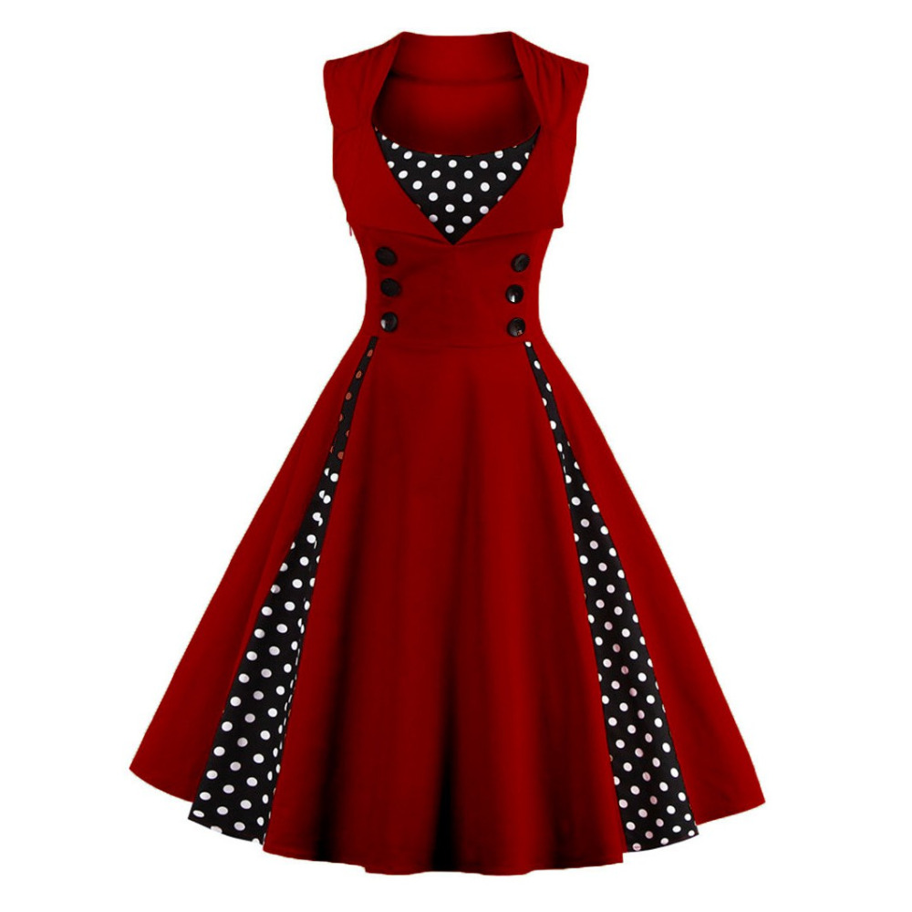 S-5XL Wanita Robe Pin Up Dress Retro 2018 Vintage 50s 60s Rockabilly - Pakaian wanita - Foto 3