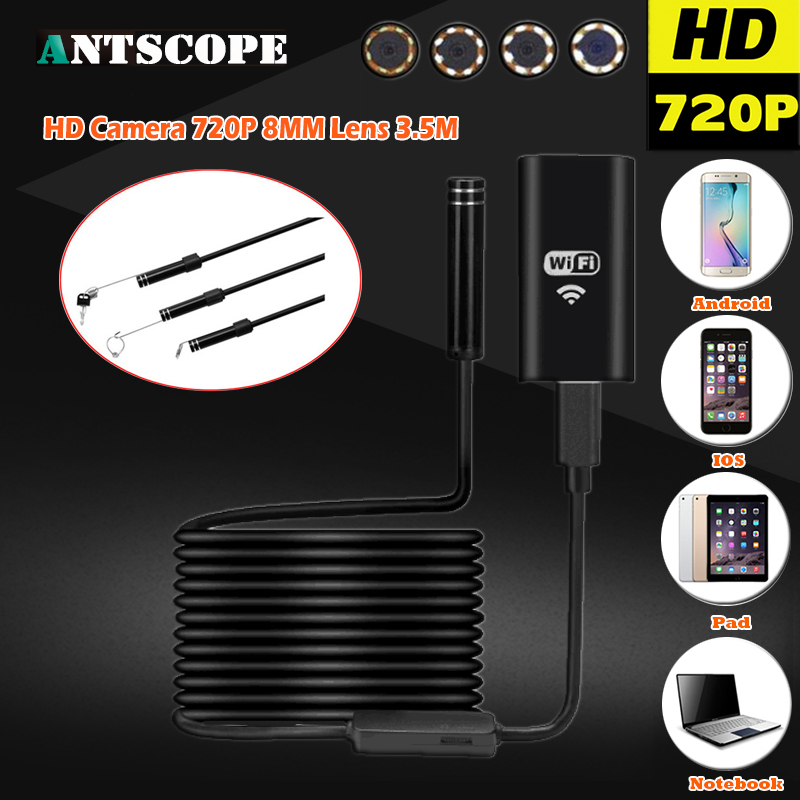 HD 2.0MP Wifi Wireless USB Endoscope Hard Cable Android IOS PC 8 LEDS 720P 8mm Lens Car Endoscope Flexible Camera Waterproof детская игрушка new wifi ios
