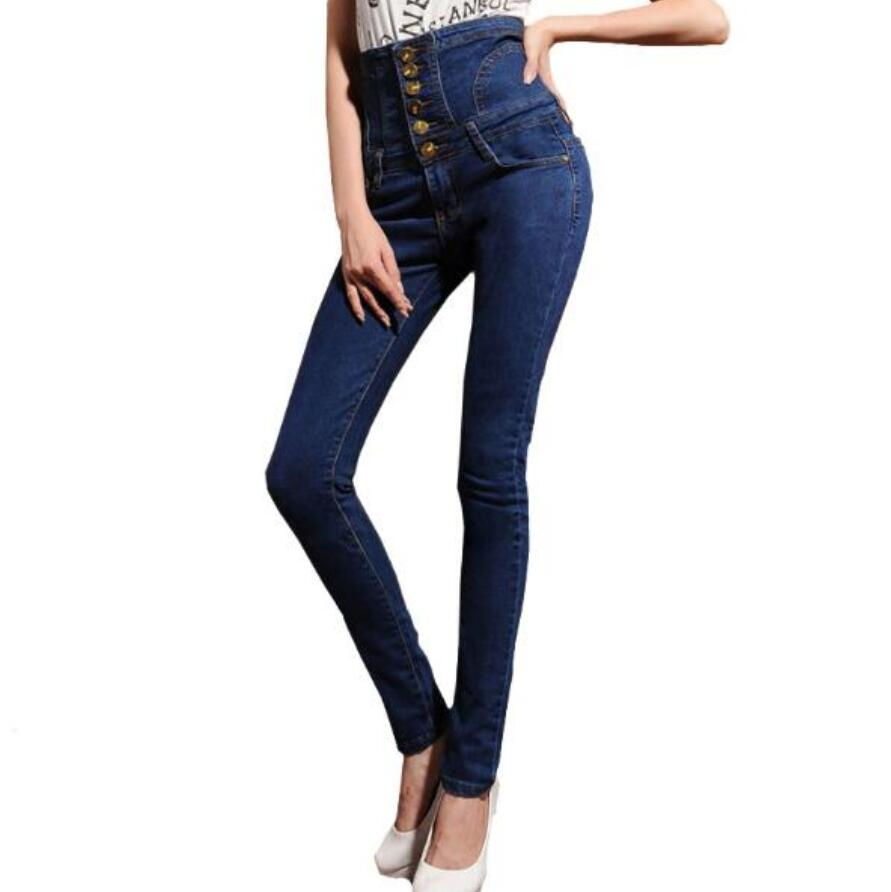 6XL Plus Size Women's high waist jeans skinny elastic denim pencil pants Plus large size buttons long trousers women jeans large size high waist autumn 2017 blue elastic long skinny slim jeans trousers large size denim pants stretch female