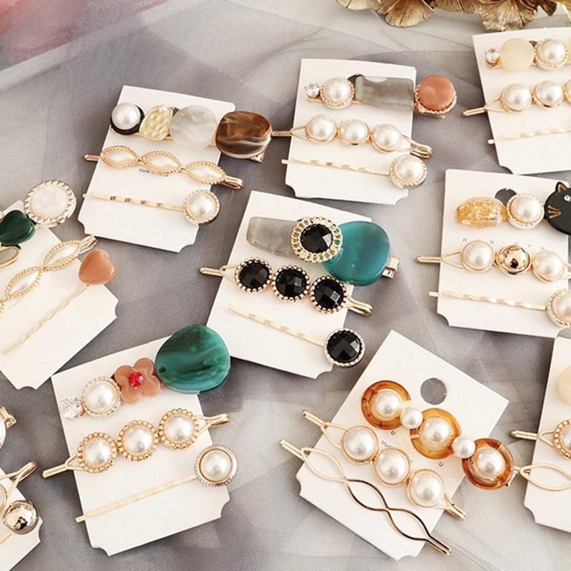 ncmama 3Pcs/set Pearl Women Hair Clips Set Cute Cat Pins Girls Korean Gold Barrettes Summer Jewelry Accessories
