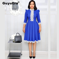 GuyuEra African Riche Bazin Dress for Women High Quality Lace Stitching Commuter Pleated Large Size Dress