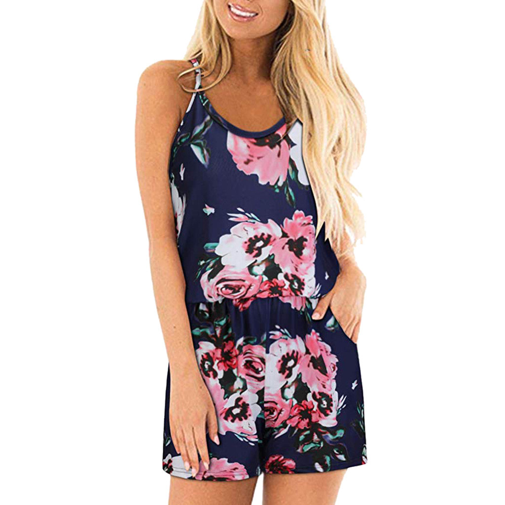 Feitong Women Rompers Floral Print Jumpsuit Summer Spaghetti Strap Overalls For Women Casual Jumpsuit combinaison femme 2019