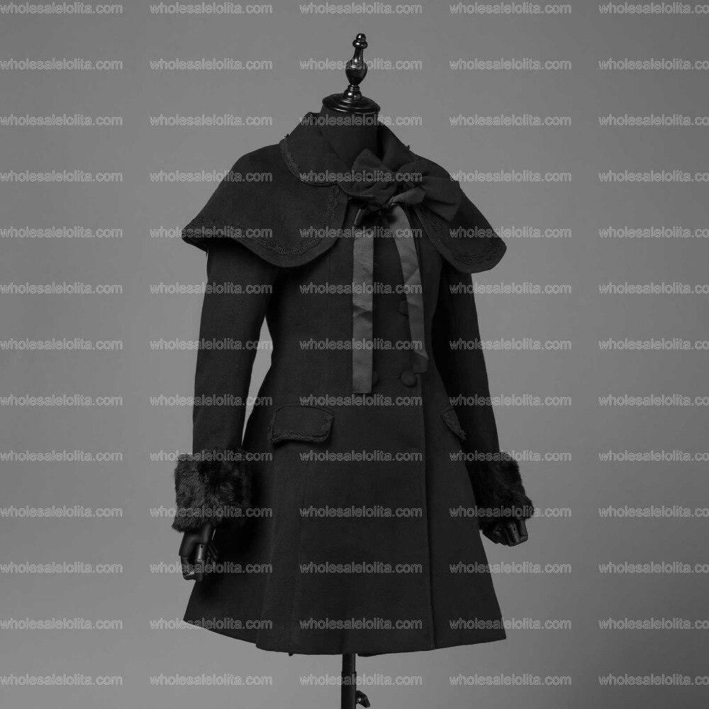 Femmes Style Élégantes Gothique Chaud D'hiver Lolita Vintage Classique Robe Cape Doux Color Noir Trench Automne Manteau fPrwqCf