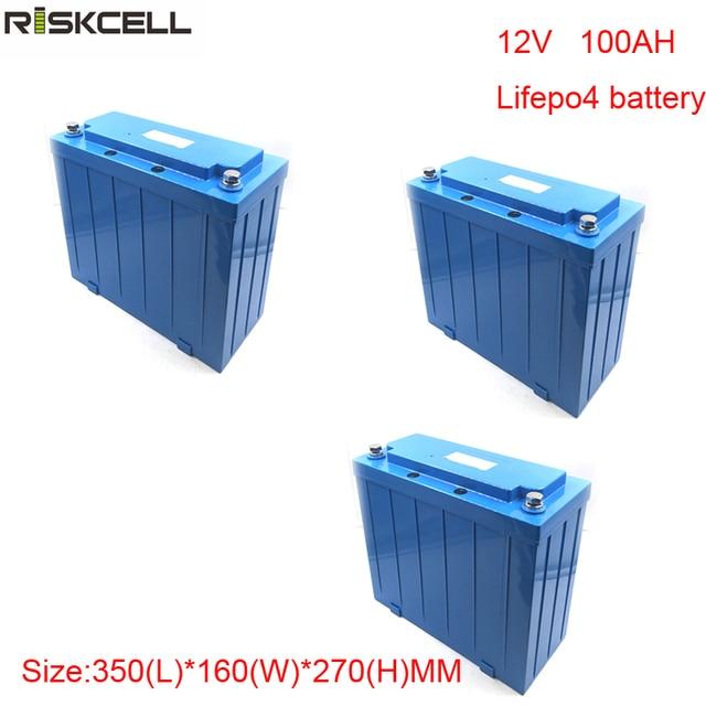 No taxes 3pcs/lot   Deep Cycle Rechargeabl Lifepo4 12V 100ah battery for Motor Home/Solar RV/camping caravan
