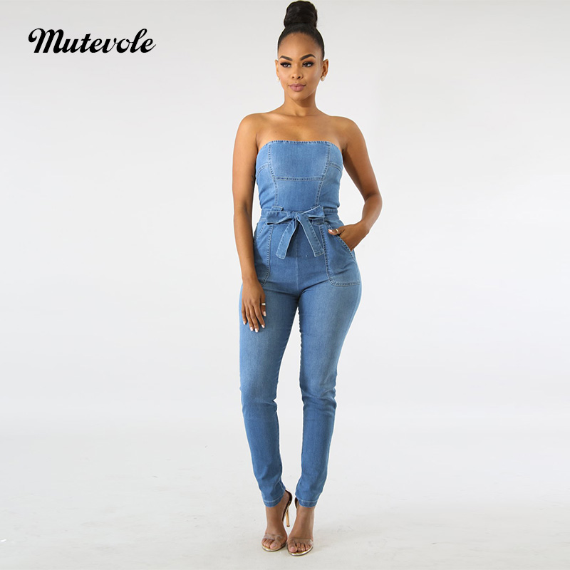 a26cb33027e Mutevole Women Strapless Denim Jumpsuit Off Shoulder Summer Sleeveless  Backless Jumpsuit One Piece Pants Jean Jumpsuit Overalls-in Jumpsuits from  Women s ...