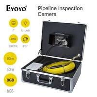 Eyoyo wf90 7 TFT Цвет Мониторы 50 м дренажной трубы трубопровода инспекция канализационные Камера змея Cam 1000tvl Водонепроницаемый IP67 DVR 8 ГБ