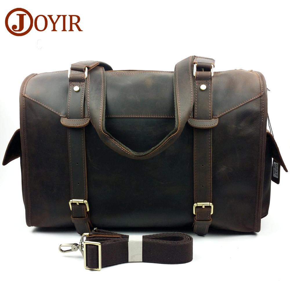 JOYIRTravel Bags Men Genuine Leather Vintage Bag Travel Duffle Totes Shoulder Bags Men's Luggage Cowhide Large Handbag  6237 crazy horse leather men travel bags luggage cowhide tote handbag genuine leather duffle bag male vintage luggage