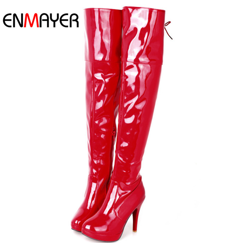 ENMAYER Big size 34-43 Women Knee Boots Sexy High Heels Platform Round Toe Buckle Over the Knee Boots Winter Spring Shoes Women enmayer sexy red shoes woman high heels bowties charms size 34 47 zippers round toe winter over the knee boots platform shoes page 1