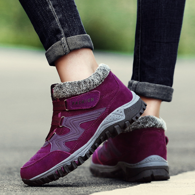 STS BRAND 2019 New Winter Ankle Boots Women Snow Boots Warm Plush Platform Boot Fashion Female Wedge Shoes Snow Waterproof shoes (8)