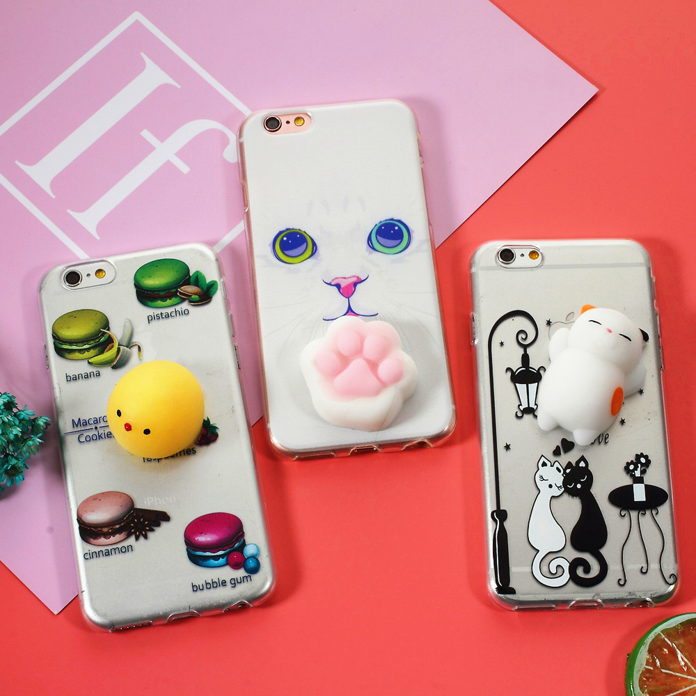 Iphone 6 squishy case - Bag For Iphone 6 7 6plus 7 Plus Cell Phone Squishy Case 3d Pinch Silicone Cat Tpu Back Case For Iphone 6s Squishy Case White Cat
