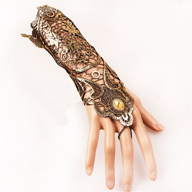 Golden Lace Gloves Vintage Gothic Queen Cosplay Accessory Medieval Victorian Armband Bracer