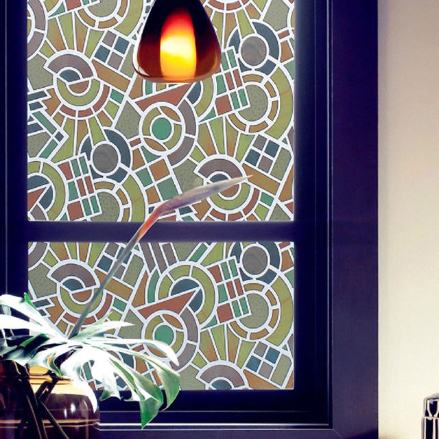 Glass Film Color Printing Bathroom Window Stickers Sunscreen UV Decals Home Decoration