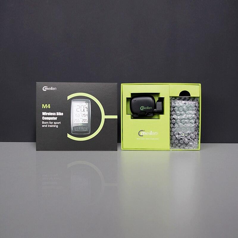 Velocímetro inalámbrico de bicicleta Meilan M4 y S1 luces traseras tacómetro Monitor de ritmo cardíaco Sensor de velocidad de cadencia cronómetro impermeable - 3