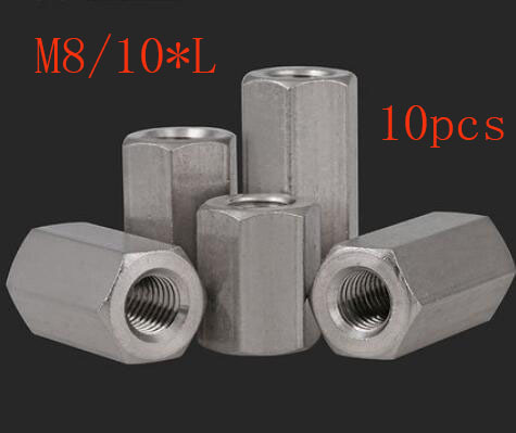 10pcs M8/10*10/15/20 Hex Rod Coupling Nut 304 Stainless Steel