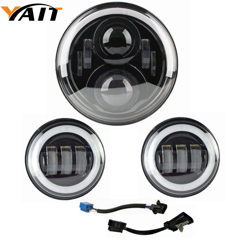 Yait 4-1/2 4.5inch LED Auxiliary Spot Fog Passing Light Lamp with 7 Led headlight Daymaker for Harley Touring Electra Glide 4 1 2 led spot fog passing motorcycle light dot ce body material aluminum die cast housing bike headlight body color black