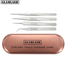 GLAMLASH Tinplate ST-11 ST-12 ST-14 ST-15 Tweezer Case Rose Gold/Silver Storage Box Makeup Tools 5 in 1