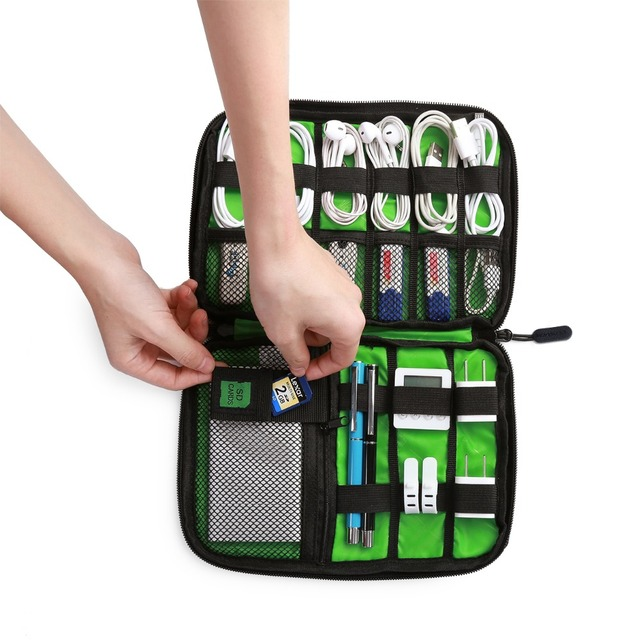 Bagsmart Travel Electronic Accessories Organizer Bags For Digital Devices Nylon Bags For Earphone Data Line SD Card USB Cable