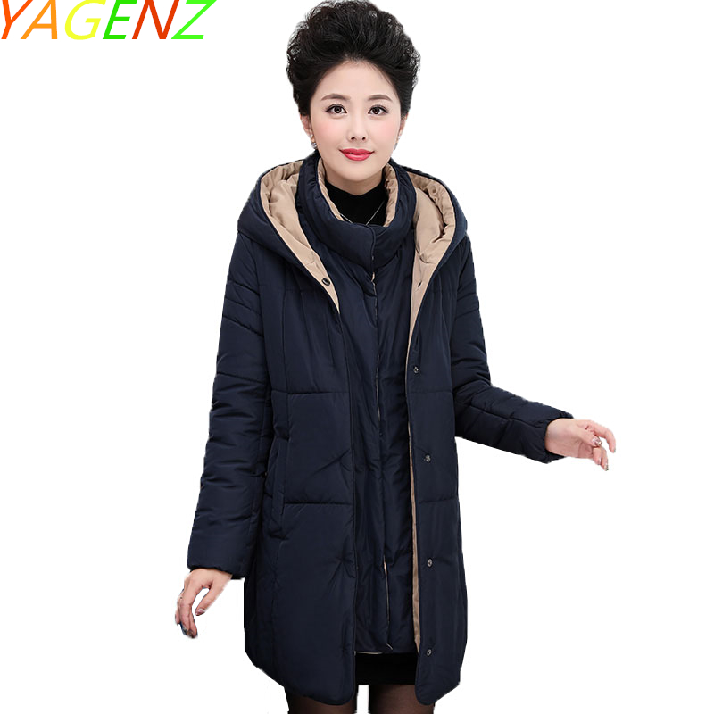 YAGENZ 2017 Winter Middle age Women clothes Cotton Coat Large size Mother clothes Cotton Jacket Hooded