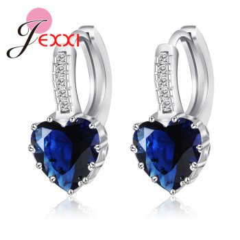 Real Pure 925 Sterling Silver Luxury Colorful Heart Band Jewelry Cubic Zirconia Stone Earrings Fashion For Women Girls 3